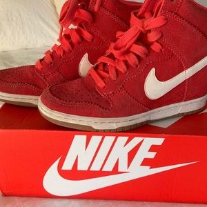 Nike Dunk Rare Sky Hi Top Red Suede Sneakers